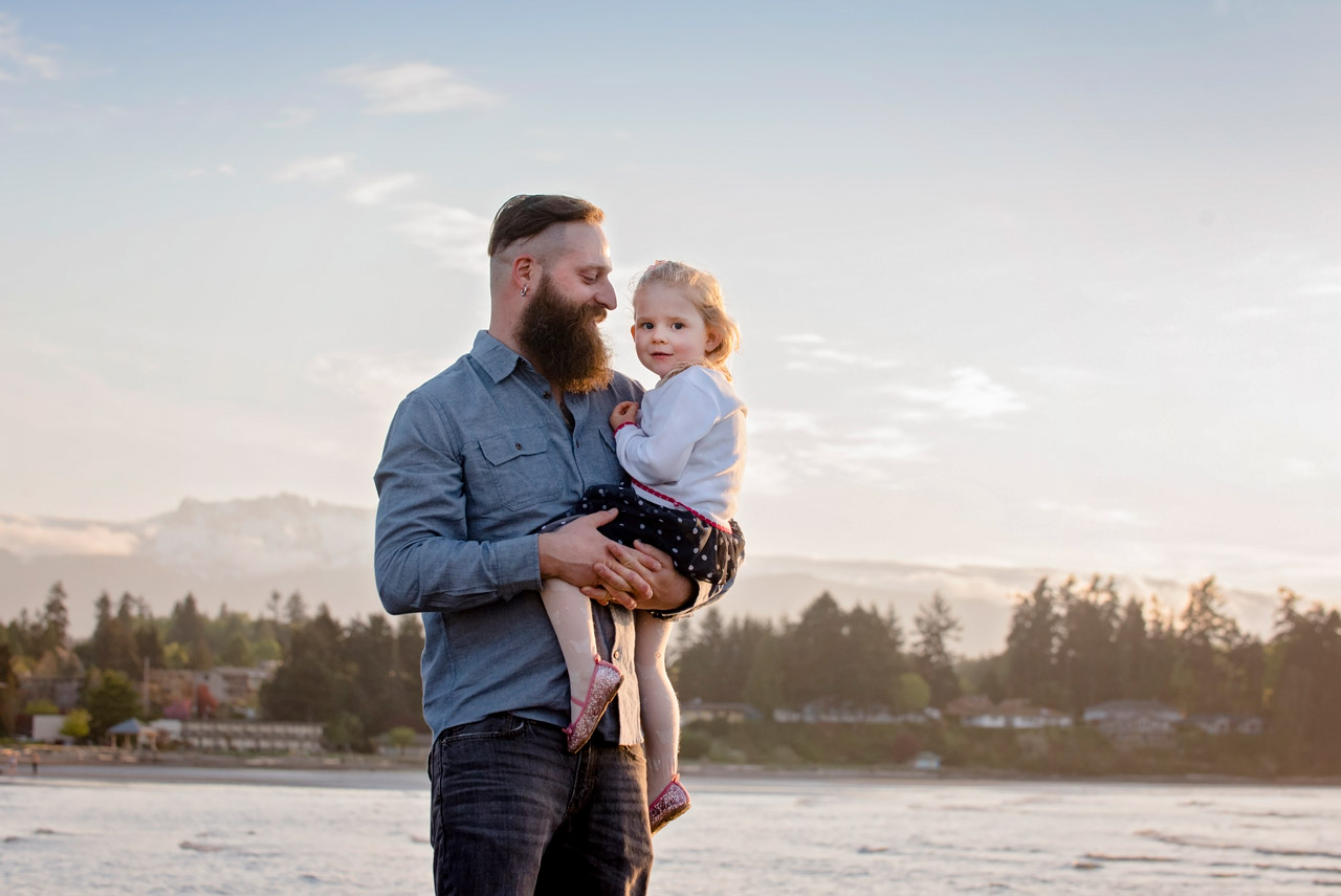 Father and daughter beach portrait in Parksville