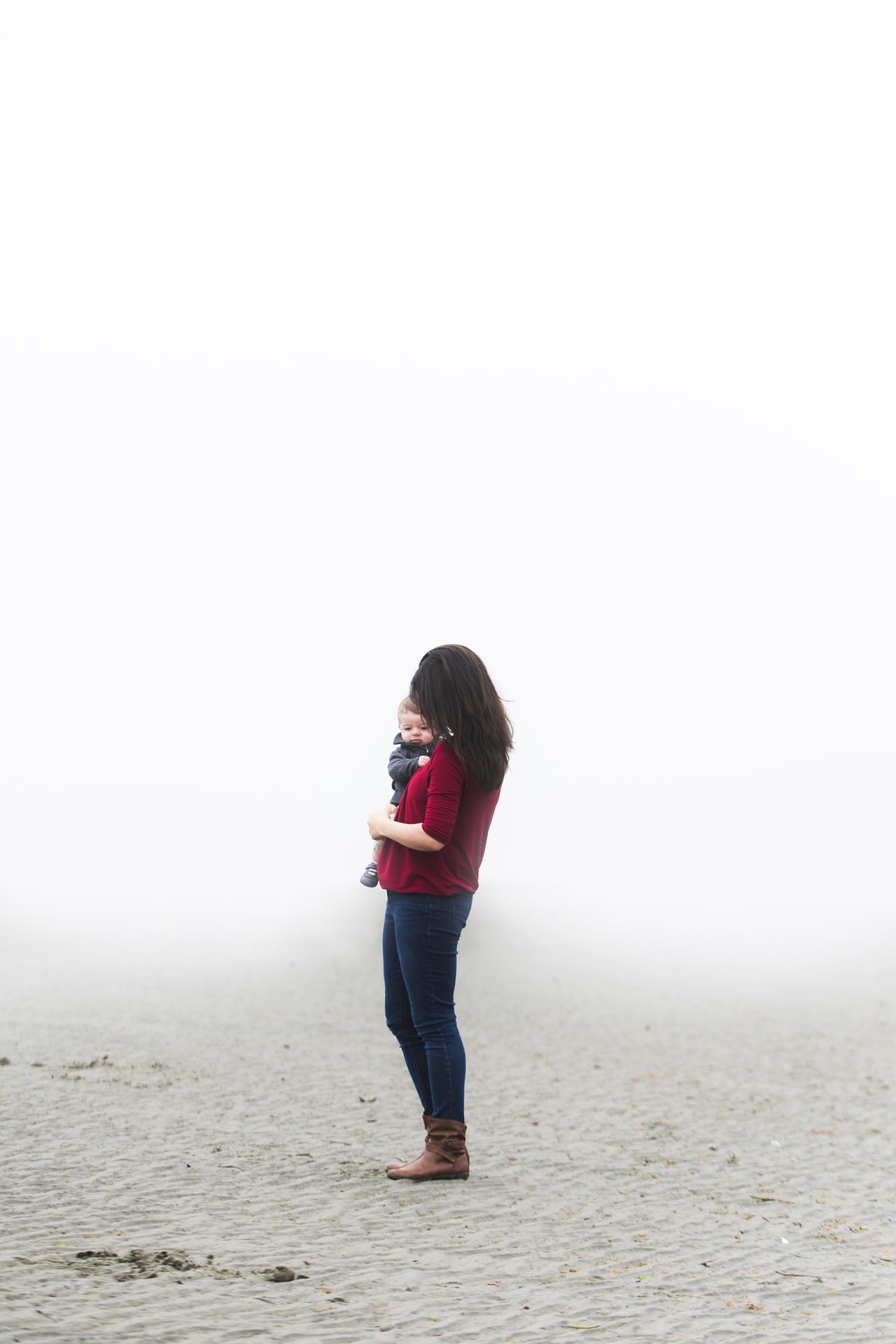 Photo of Mother and Child on Qualicum Beach in fog