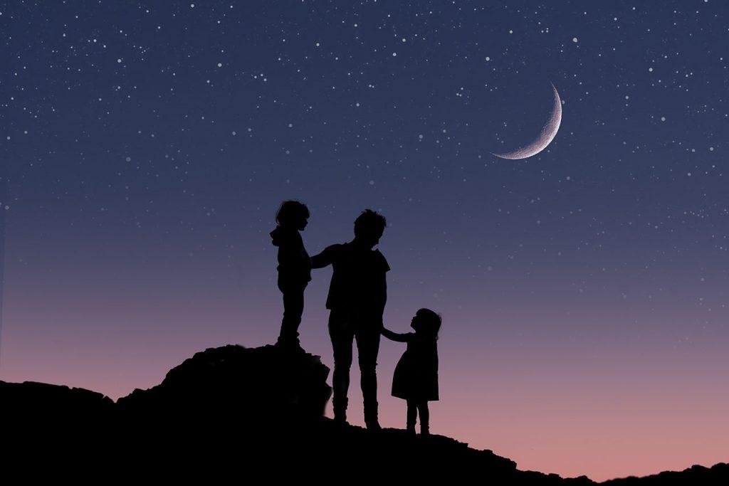 fantasy edit family portrait on a starry night