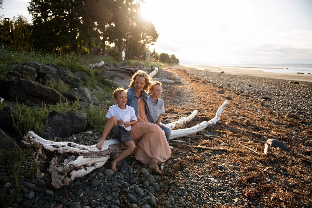qualicum beach sunset family session image of mother and sons
