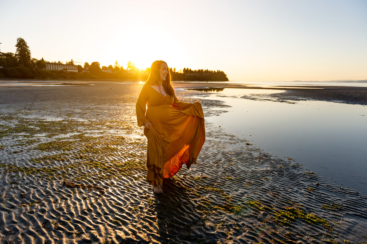 Golden Hour Maternity Beach Session on Van Isle